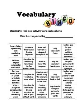 Vocabulary and Spelling Bingo