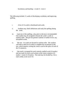Spelling  & Vocabulary- Grade 9 - level 2