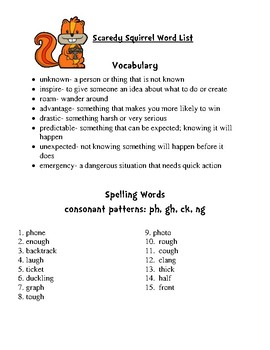 Vocabulary and Spelling for Scaredy Squirrel by Melanie Watt