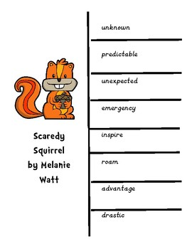 Vocabulary and Spelling with Foldable and Assessment for Scaredy Squirrel