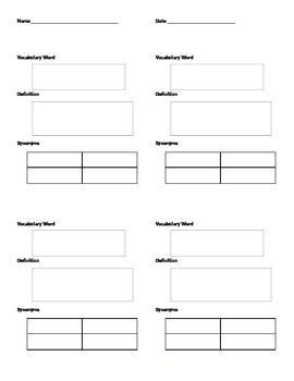 Vocabulary and Synonyms Graphic Organizer