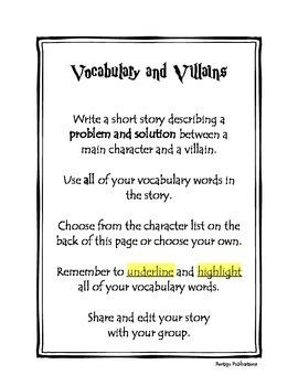 Dollar Deals #8 Vocabulary and Villains: vocabulary/writing center