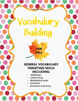 Vocabulary building for Fall- language skills