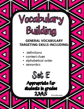 Vocabulary building through language skills- set E