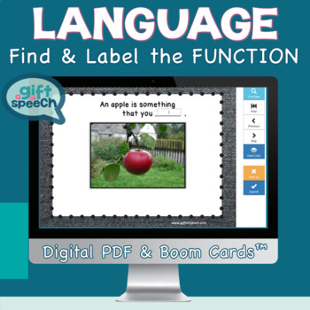 Vocabulary Function Receptive & Expressive Language NO PRINT NO PREP