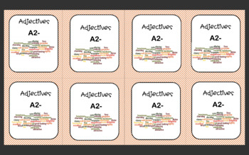 Vocabulary cards : Adjectives (A2-)