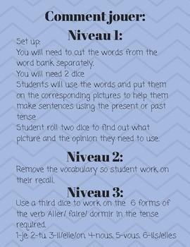 Vocabulary challenge Present or Past tense- les vacances
