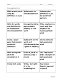 Vocabulary choice board and tool kit
