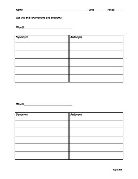 Vocabulary choice board and tool kit PDF format