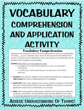 Vocabulary comprehension application activity assessment- EDITABLE- 8 choices!