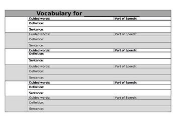 Vocabulary - editable template