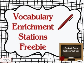 Vocabulary enrichment Stations Freebie