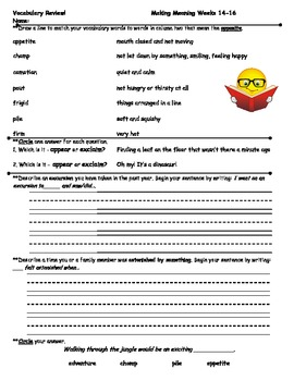 Vocabulary extensions adapted from the Making Meaning Vocabulary Series Part 2