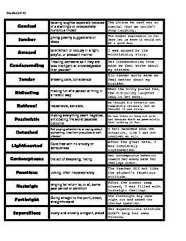 Vocabulary for Character Traits