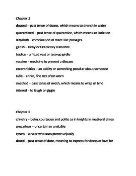 Vocabulary for Cinder by Marissa Meyer