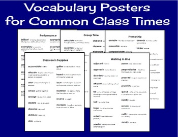 Vocabulary for Common Class Times