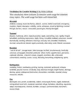 Vocabulary for Creative Writing 2: By Nisha Lakhiani