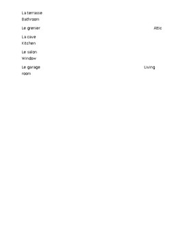 "Vocabulary for ""La Maison"" matching activity."