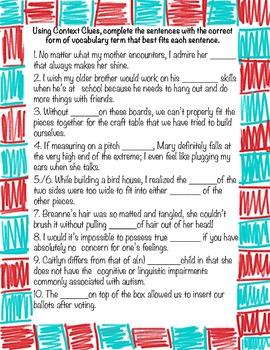 Vocabulary for Mockingbird A Novel by Kathryn Erskine