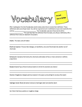 Vocabulary for Pre-Unit Biology
