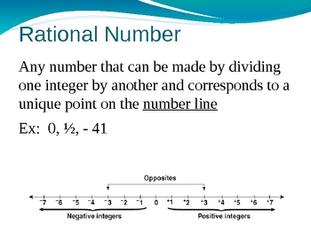 Vocabulary for Rational Numbers