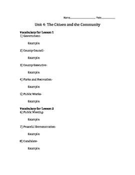 """Vocabulary for Social Studies """"The Citizen and Our Communi"""