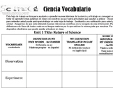 Vocabulary for Spanish Speakers (ELL) Nature of Science