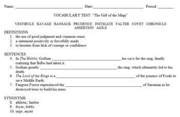 """Vocabulary for """"The Gift of the Magi"""" by O. Henry"""