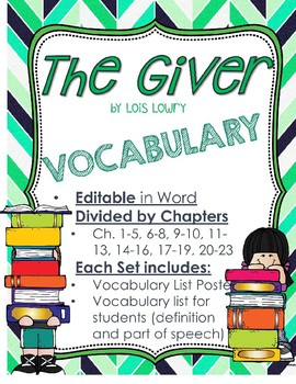 The Giver Vocabulary for Word Wall & Vocab List w/definiti