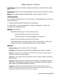 Vocabulary for the College Application Process and College Life