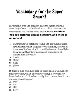 Vocabulary for the Super Smart! (Part A)