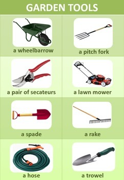 Vocabulary gardening tools worksheet with pictures by for Gardening tools vocabulary