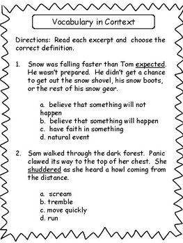 Vocabulary in Context: 3rd/4th Grade