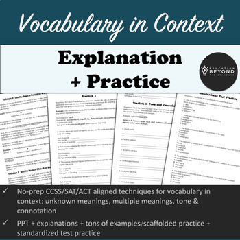 Vocabulary in Context - CC/SAT/ACT aligned - Techniques, Explanations & Practice