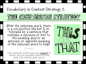 Vocabulary in Context Comprehension Strategy Posters - Context Clues