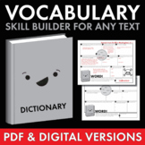 Vocabulary Builder, PDF & Google Drive worksheet, Use with ANY text, Grades 6-12