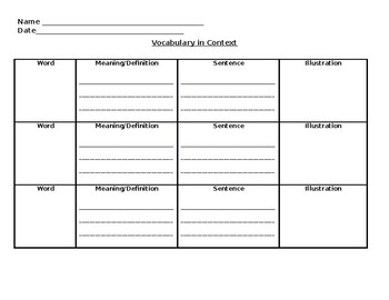 Vocabulary in Context Graphic Organizer