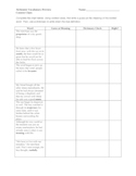 Vocabulary in Context Worksheet for The Alchemist