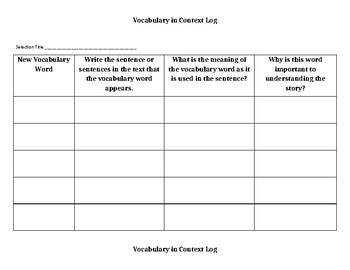 Vocabulary in Context Log