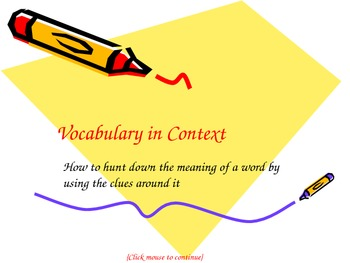Vocabulary in Context Powerpoint (Context Clues)