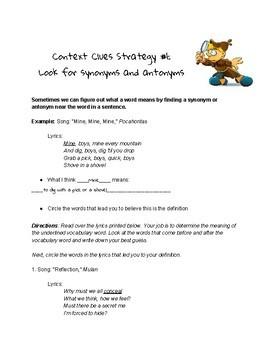 Disney Vocabulary Unit - Vocabulary in Context - Vocab skits - Vocab packets