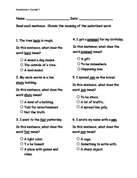 Vocabulary in Context pre/post assessment ITBS style
