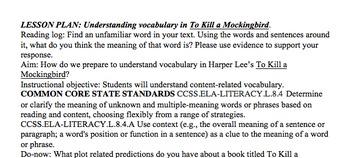 Vocabulary in To Kill a Mockingbird Lesson Plan, Activity, Handouts COMMON CORE