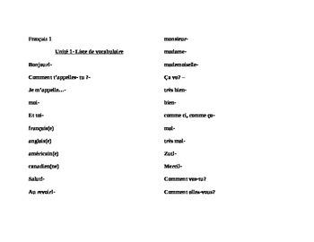 Vocabulary list Unit 1 Discovering French Nouveau Bleu