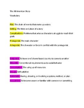 Vocabulary list for All American Slurp