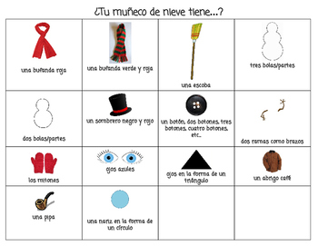 Vocabulary list for Muñeco de Nieve Guess Who or Headbanz game