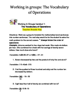 Vocabulary of Operations Handout: Teacher answer key