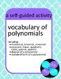 Vocabulary of Polynomials Self-Guided Worksheet