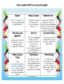 Vocabulary or Spelling Homework Choice Tic Tac Toe