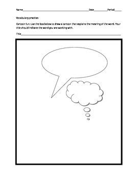 Vocabulary practice cartoon template